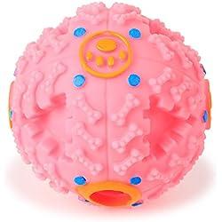 Perro IQ Bola - TianTa - Perro Mascota Interactivo Tratar IQ Bola Juguetes Bola Perro De Mascar Limpieza De Dientes Bola Bola De Alimentos Para Tamaño Pequeño / Mediano Perro - 4.5 pulgada - Rosado