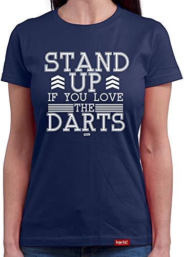 HARIZ  Damen T-Shirt Rundhals Stand Up If You Love The Darts Dart Sprüche Dartscheibe Sport Fun Trikot Plus Geschenkkarte Navy Blau M