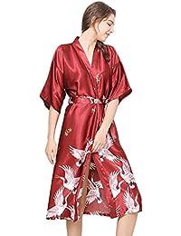 343b5926fa Minetom Donna Elegante Vestaglia Scollo a V Pigiama Kimono Lungo Manica a  3/4 Stampa Camicia da Notte in Raso con Cintura per Casa…