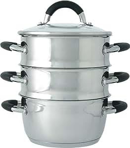 Ready Steady Cook Bistro Cuiseur vapeur Couvercle verre 3 étages Inox Argent/noir 18 cm