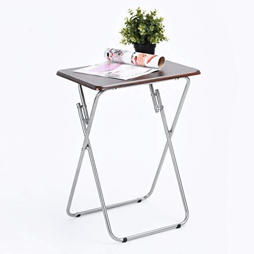Yata Home Tisch, faltbar, für Laptop, Büro, Computertisch, Klapptisch, Beistelltisch, Konsolentisch, Snacktisch, Gartentisch, Picknicktisch, Tablett aus Holz, Metall-Dekor