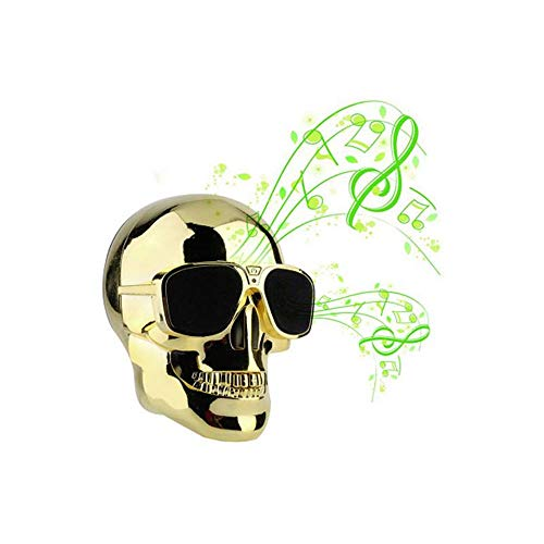 LWPCP Tragbare Schädel Kopf Form Drahtlose Bluetooth Lautsprecher Audio Stereo Mobile Subwoofer Halloween Geschenke (Musik Halloween Zu Spielen An)