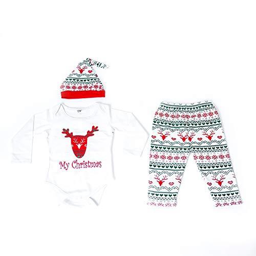 Lee Little Angel Männer und Frauen Baby Weihnachten Deer Jumpsuit Klettern Kostüm Langarm-Hosen dreiteilige Set (0-6 Monate, 1-weiß)