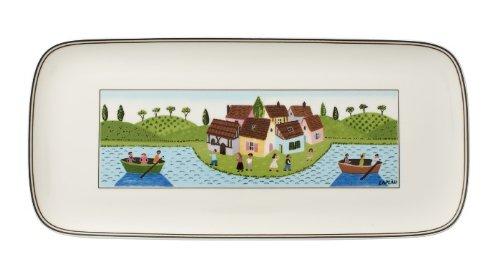 Villeroy & Boch Charm & Breakfast Design Naif Kuchenplatte, 35x16 cm, Premium Porzellan, Weiß/Bunt -