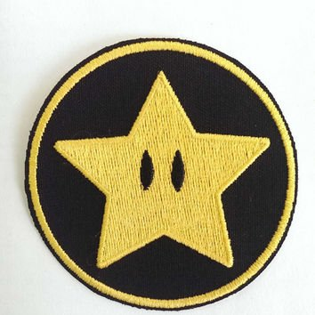 Gold Star Patch Super Mario Brothers bestickt Eisen/Nähen auf Badge Power Up Aufnäher Souvenir DIY Kostüm World Kart SNES (Mario Brothers Goomba Kostüm)