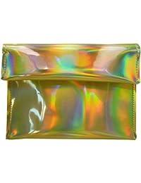 Monique Women Colorful Holographic Handbag Fashion Evening Party Clutch Envelope Bag Golden