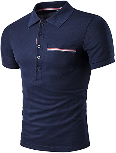 Sportides Mens Leisure Pocket Polo Shirt Short Sleeve T-Shirt Tops JZA026 JZA026_Navy