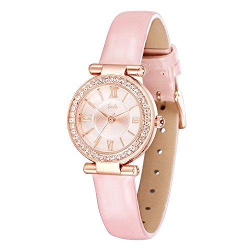 Barbie orologio donna al quarzo indici crystall swarovski cinturino in pelle di vitello resistente all'acqua 3atm quadrante guilloché #w50570l (rosa)
