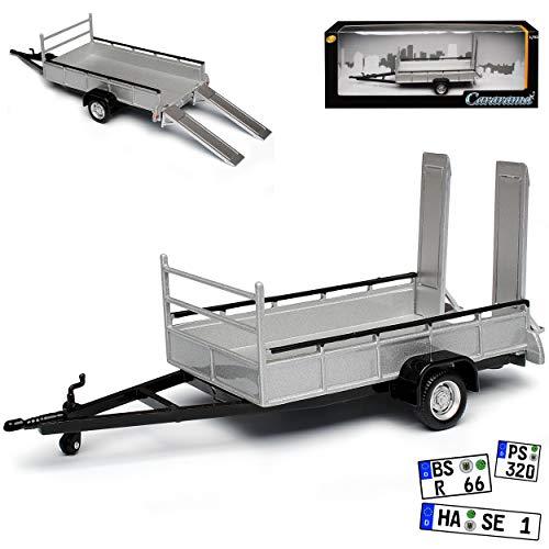 Cararama Anhänger für Autotransport mit Auffahrrampen Einachser 1/43 Modell Auto