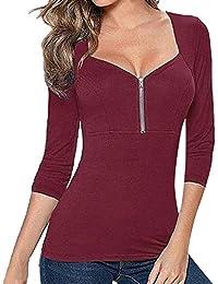 Yvelands Camiseta para Mujer Casual, Womens Ladies Zipper Camiseta con Cuello en v Manga Larga túnica Tops Blusa