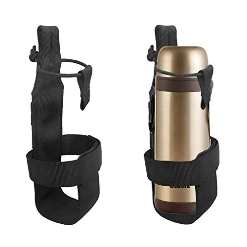 Nylon Tactical MOLLE Wasser Flasche Halter für Rucksack Camping Outdoor Gürtel Flaschenträger, schwarz