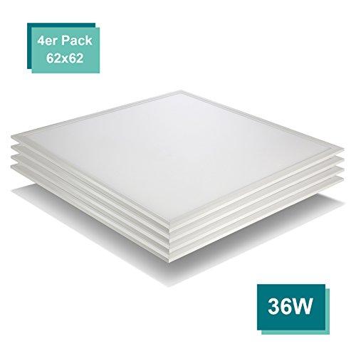 4-panel-gehäuse ([4er Pack zum Sparpreis] OUBO LED Panel 62x62 Deckenleuchte Warmweiß 3000K, 36W, Bürolampe für Odenwalddecke, Rasterleuchten, Einlegeleuchte, Sillerrahmen)