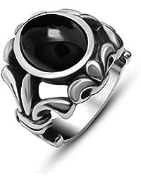 De acero inoxidable De los hombres De titanio JewSteel estilo antiguo anillo De flor De Lis con Zircon Piedra