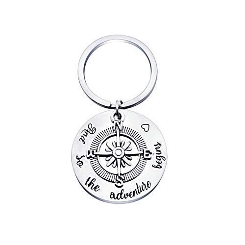 Aeici Schlüsselanhänger Personalisiert Kompass Charms Gravur and so The Adventure Begins Schlüsselanhänger Edelstahl Schlüsselbund Silber - Charms Elemente Silber