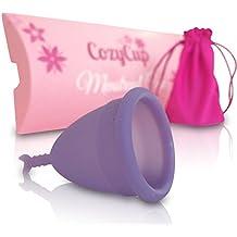 Menstruationstasse CozyCup lila - groß - Menstruationsbecher jetzt mit GRATIS Stoffbeutel zum Aufbewahren - Menstruationskappe aus medizinischem Silikon - bis zu 10 Jahre wiederverwendbar (groß, lila)