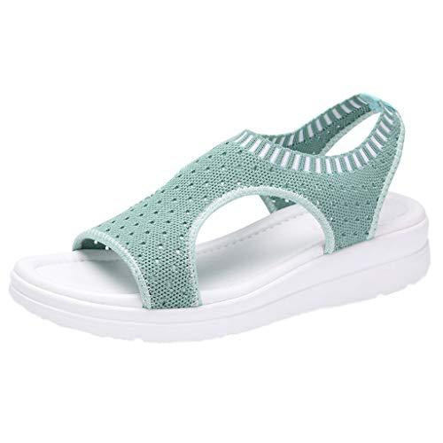 B-commerce Frauen Baumwollgewebe Mesh Sandalen - Damen Atmungsaktiv Komfort Aushöhlen Lässige Wedges Tuch Schuhe Freizeit Peep Toe Sandalen