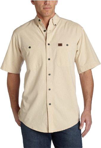 Blue Chambray Work Shirt (Wrangler Riggs Workwear Herren Arbeitsshirt Chambray Short Sleeve - Beige - Mittel)
