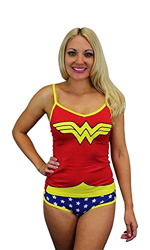 Wonder Woman Glow in the Dark Damen Cami / Panty Set - Klein (Woman Wonder Cami Set)