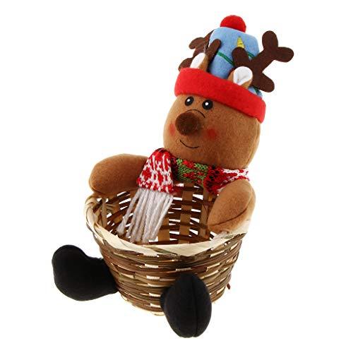 Baoblaze Geschenkkorb Bambus Körbchen Füllkörbchen Aufbewahrungskorb für Snacks und Geschenk, Weihnachten Stil