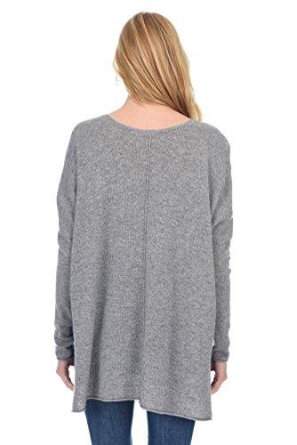 State Fusio Donna cashmere lana di cachemire da donna 3/4 maniche lunghe manica sciolto Pullover oversize V Maglione collo V Meteo Grigio