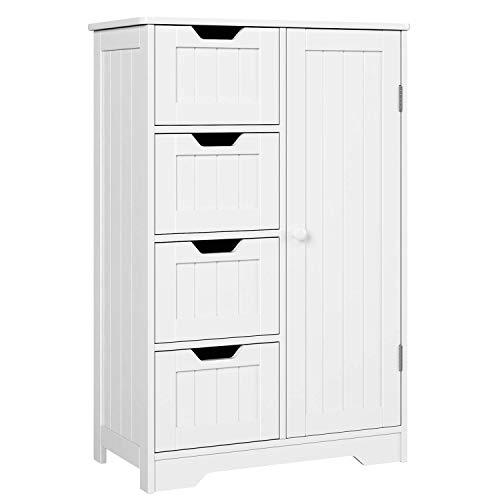 Homfa Kommode Badezimmerschrank Badschrank Schrank Anrichte verstellbare Regalebene Holz weiß mit Schubladen Bad Küche Flur Schlafzimmer 56x30x83cm