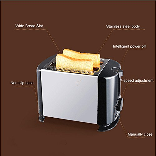 NQFL Toaster Silver Toaster Household Stainless Steel Automatic Breakfast Toaster 2 Slots,Black-35*17*21cm
