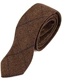 3d20669c06c Mens Marc Darcy Designer Brown Navy Check Print Tweed Tie