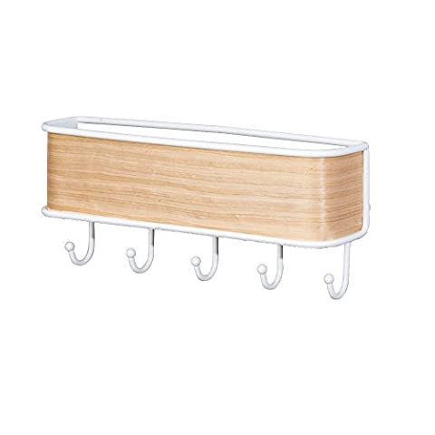 InterDesign RealWood Mail, Letter Holder, Key Rack Organizer for Entryway, Kitchen - Wall Mount, White/Light Wood Finish