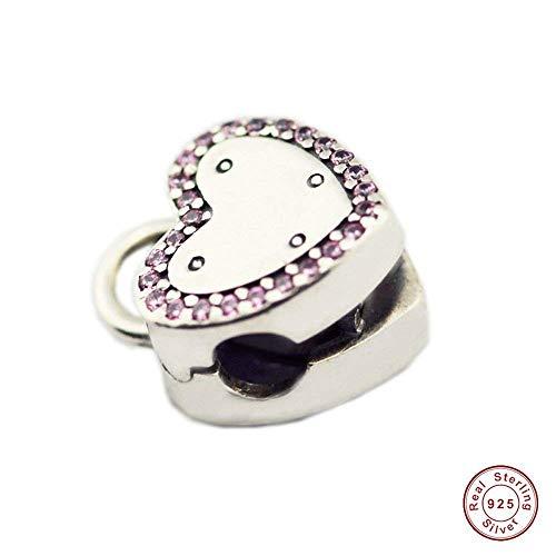 Mocci san valentino bloccare la tua promessa clip perlina 925 argento fai da te adatta per originale pandora bracciali moda gioielli di fascino
