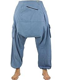 Guru-Shop Haremshose, Pluderhose, Pumphose, Aladinhose - Taubenblau, Herren, Baumwolle, Männerhosen Alternative Bekleidung