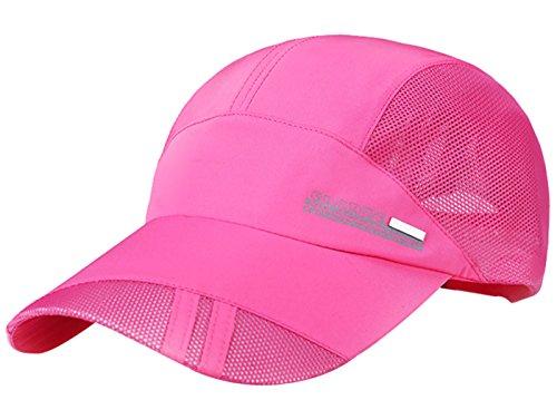 URqueen Unisex Outdoor Sports Mesh Running Baseball Golf Twill Cap Hat Pink