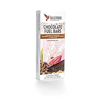 Bulletproof Sugar Free Chocolate Fuel Bars - Himalayan Salt - 3 Bars 168g by Bulletproof