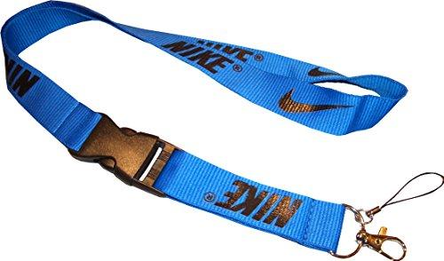 Nike Swoosh Lanyard Keyband. Schlüsselband. Solider Karabiner Haken. Strapazierfähig. 100% Nylon. Maße 53 x 2,5 cm (Nike Lanyard Blau)