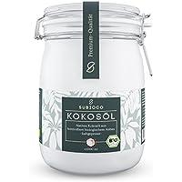 SUBIOCO Bio Kokosöl, 1000ml (1L), nativ und kaltgepresst, im praktischen Drahtbügelglas