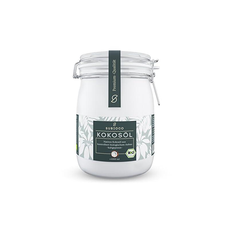 Subioco Bio Kokosl 1000ml 1l Nativ Und Kaltgepresst Im Praktischen Drahtbgelglas