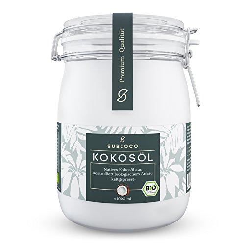 SUBIOCO Bio Kokosöl, 1000ml (1L), nativ und kaltgepresst, im praktischen Drahtbügelglas (Kokosnuss-öl 1 Liter)