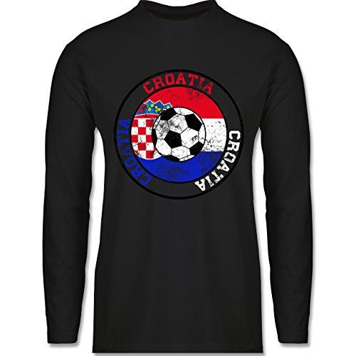 Shirtracer Fußball-WM 2018 - Russland - Croatia Kreis & Fußball Vintage - Herren Langarmshirt Schwarz