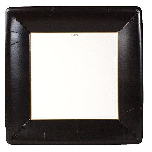 Caspari gros-grain Bordure carré Assiettes Plates, Noir, par Caspari