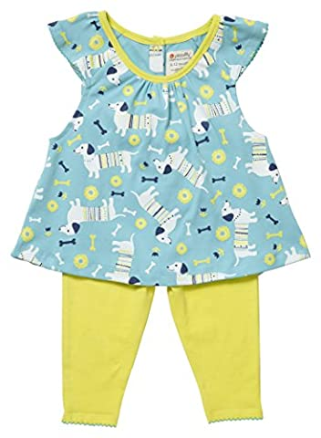 Piccalilly Organic Cotton Blue and Yellow Baby Girls Sausage Dog