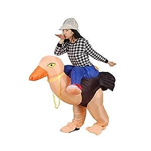 Original Cup - Disfraz Hinchable con Bomba de Aire USB, Traje Inflable Adultos para Fiesta, Conciertos, Halloween - Avestruz