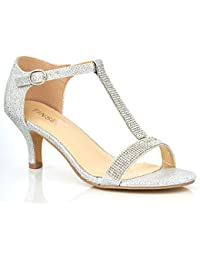898c56d5ca9f UV0055 New Ladies T-Bar Satin Low Kitten Heel Diamante Glitter Sparkly  Wedding Evening Sandals