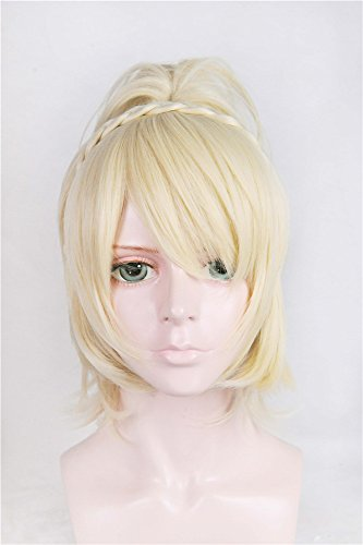 LanTing Cosplay Perücke Final Fantasy FF 15 Lunafreya Blonde Perücke Corta Cosplay Party Fashion Anime Human Costume Full wigs Synthetic Haar Heat Resistant ()