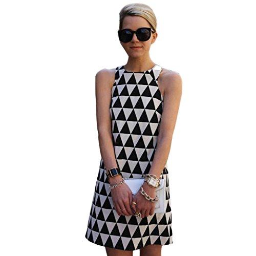 feiXIANG frauen Ärmelloses kleid mit Print in Schwarz und Weiß sommer casual ärmellose party beach kurzes mini kleid (L, Black) (Tutu Schule)