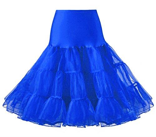 LIDORY 50s Petticoat knielang Vintage Retro Reifrock Unterrock Underskirt Crinoline für Wedding Bridal Rockabilly Kleid (L, Blau) (Tüll-stoff)