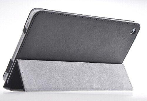 Dolextech slim-Buch PU Leder tasche/case/ hülle/Schutzhülle Abdeckungsstandplatz mit Magnet-Druckknopfverschluss / Stifthalter (For Huawei MediaPad M1 8.0, schwarz)