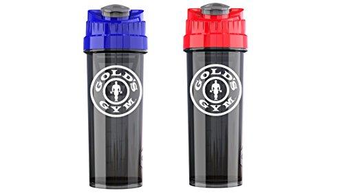 Pur-Go Gold's Gym Cyclone Trinkflasche: 0,9 ml Mixer-Streuflaschen - Shake Mixer Cup für Proteinshakes, Supplements und mehr - Set von 2 Shake Mischflaschen mit Deckel, blau und rot - Sport-mixer Blender Bottle Rot