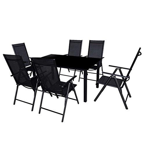 vidaXL Conjunto de Muebles de Jardín de Aluminio Textileno Negro Mesa 6...