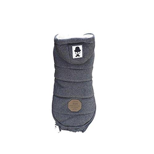 Vetement Chien/Chat Angelof Manteau Pull D'Hiver à Capuche Chaude Pour Choit Hoodies Jacket Accessoires Pour Chien Manteaux (L, Gris)