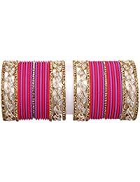 Antique Gold Plated Trendy Wedding Wear Vintage Bangle Set Pair For Women Traditional Bangel Set Jewelry