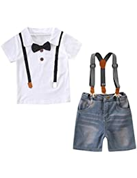 Outtop(TM) Baby-Boys' Gentleman Bowtie Tops T-Shirt Denim Shorts Overall Clothes Sets